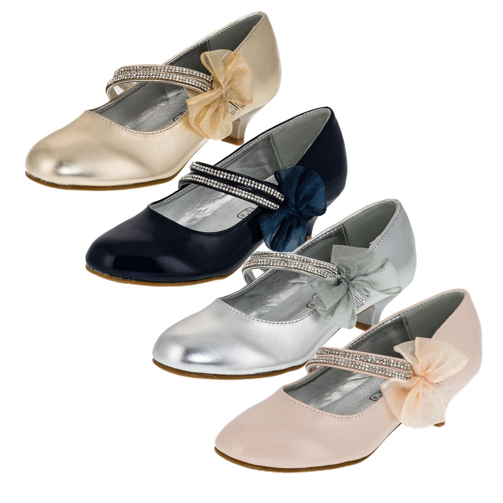 Details zu Festliche Mädchen Pumps Schuhe Strass Zierschleife