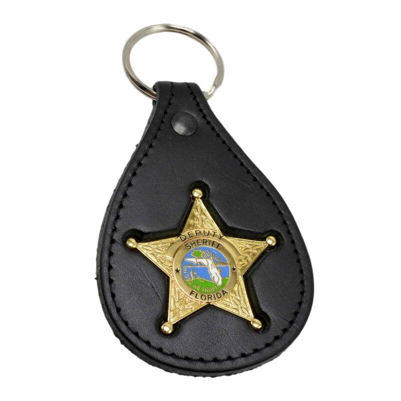 Florida Sheriff Star mini Badge Leather Key ring Holder FOB Law Enforcement Gold