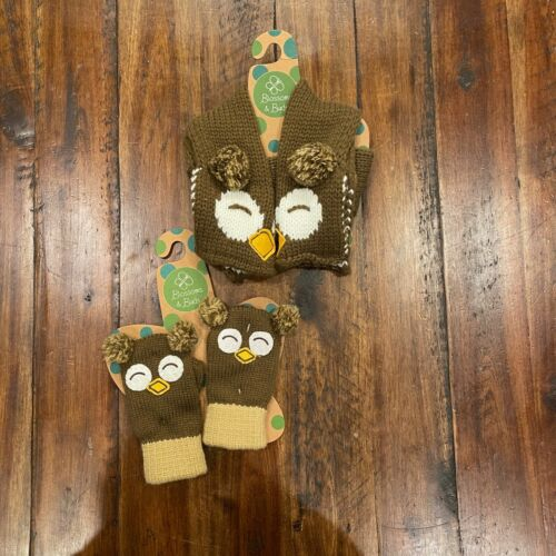 NWT Blossoms & Buds kids owl theme scarf & mittens set