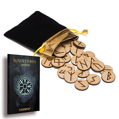 25 Wooden Rune Stone Bag set with 5 Layouts & Meaning Parchment. Futhark Runes