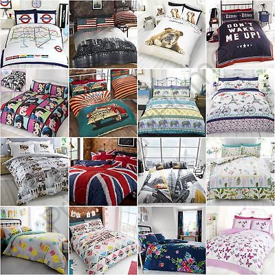 ADULTS DUVET COVER SETS BUTTERFLIES DOGS LONDON NEW YORK - SINGLE, DOUBLE & KING