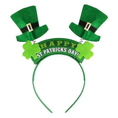 'Happy St Patrick's Day' Green Leprechaun Spring Head Bopper Headband