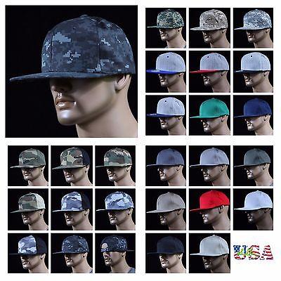 Mens Baseball Cap Flat Bill Snap back Military Hunting Hiking Tactical Camo Hat