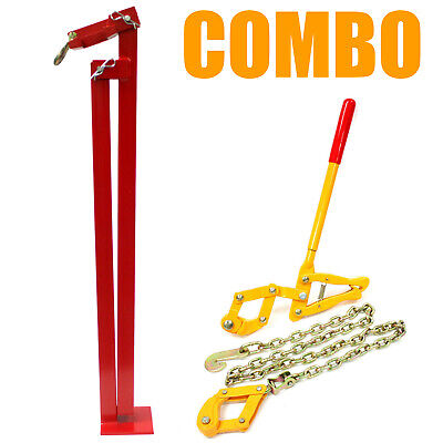 Combo T-post Puller Steel Studded Fence Post Remover Chain Strainer Tensioner