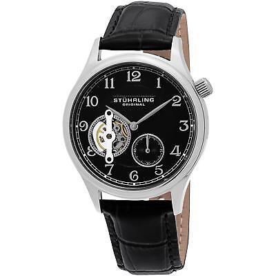 Stuhrling Men's Black Calfskin Stainless Steel Case krysterna Watch 983.02
