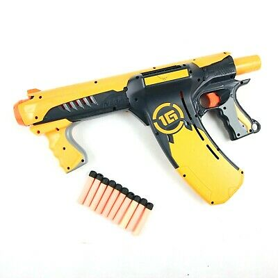 Nerf Dart Tag Quick 16 Blaster Gun Pump Action 1G Black and Yellow with 10 Darts