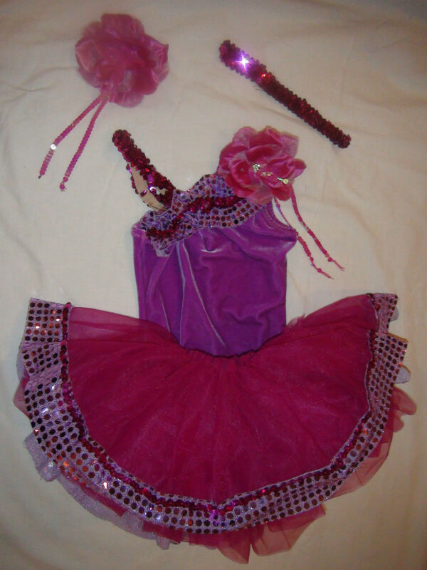 TWO Costumes: Purple Jazz & Tap Dance Pageant Competition Outfits Girls Child XS