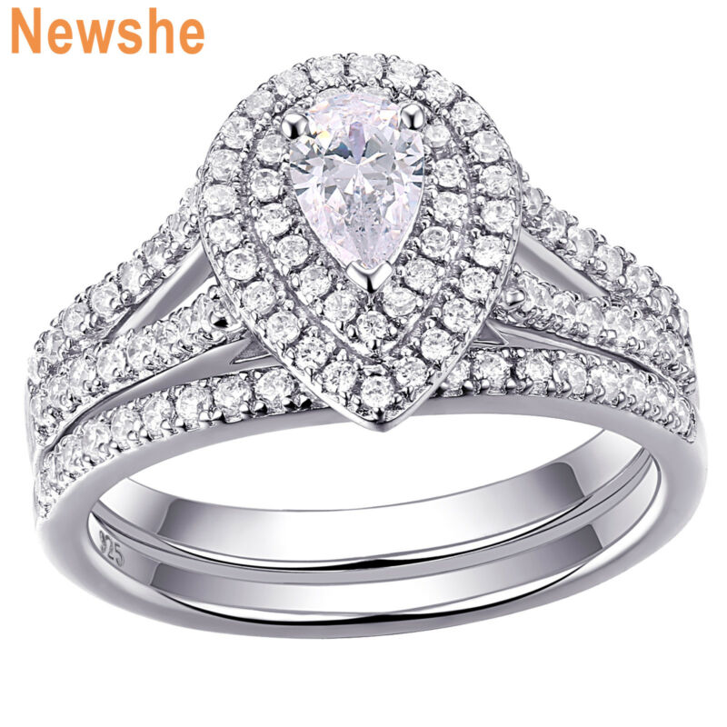 Newshe Engagement Wedding Ring Set Pear White Aaa Cz 925 Sterling Silver Sz 5-12