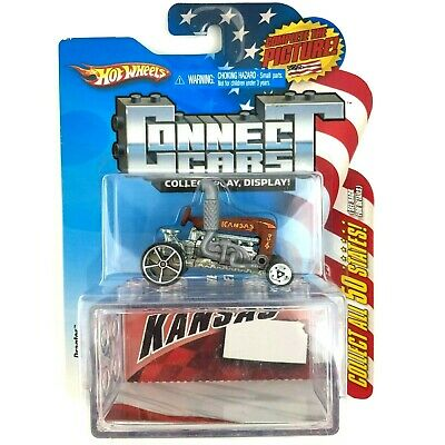Hot Wheels Connect Cars KANSAS Dragtor Tractor Brown Die Cast 1/64 Scale
