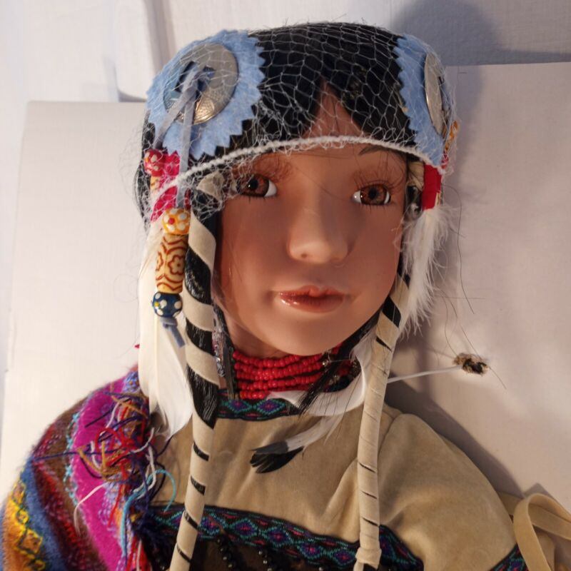"""22"""" NATIVE AMERICAN INDIAN VTG KIONA PORCELAIN DOLL Signature Collection NEW"""