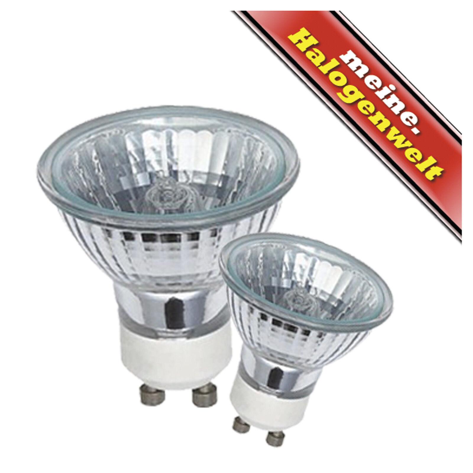 3x Halogen-Leuchtmittel GU10 20W-35W-50W 230V Halogen-Strahler Lampe Fassungen