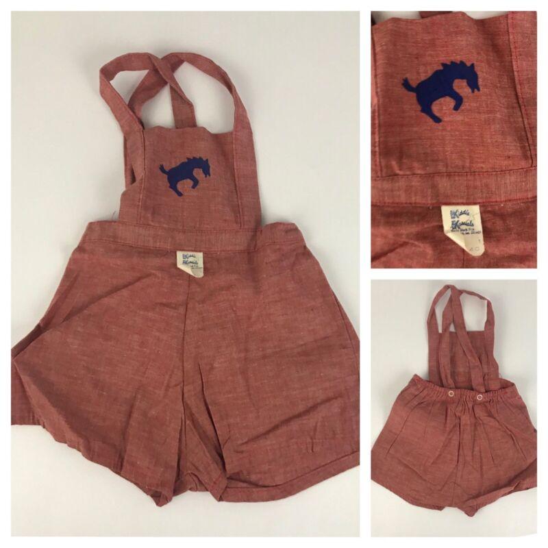 1950s Toddler Girls Romper / NOS Red Cotton Sleeveless One Piece Bibs / Size 1
