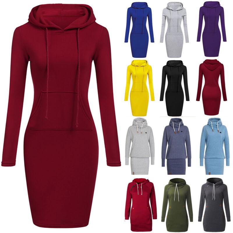 Damen Bodycon Pulloverkleid Pullikleid Kapuzenpullover Sweater Winter Kleider