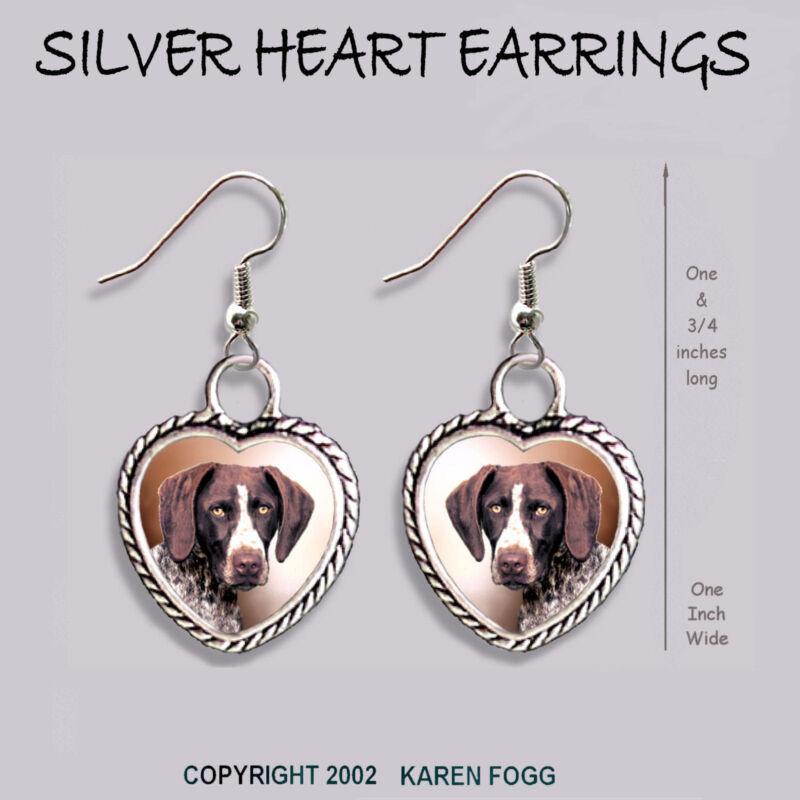 GERMAN SHORTHAIR POINTER DOG  -  HEART EARRINGS Ornate Tibetan Silver JEWELRY