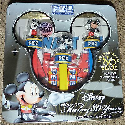 2007 PEZ DISNEY 80 YEARS COLLECTOR Tin FUN ! Walt Disney MICKEY MOUSE POSTER !!