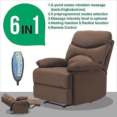 Ergonomic Lounge Heated Microfiber Massage Recliner Sofa Chair w/Control
