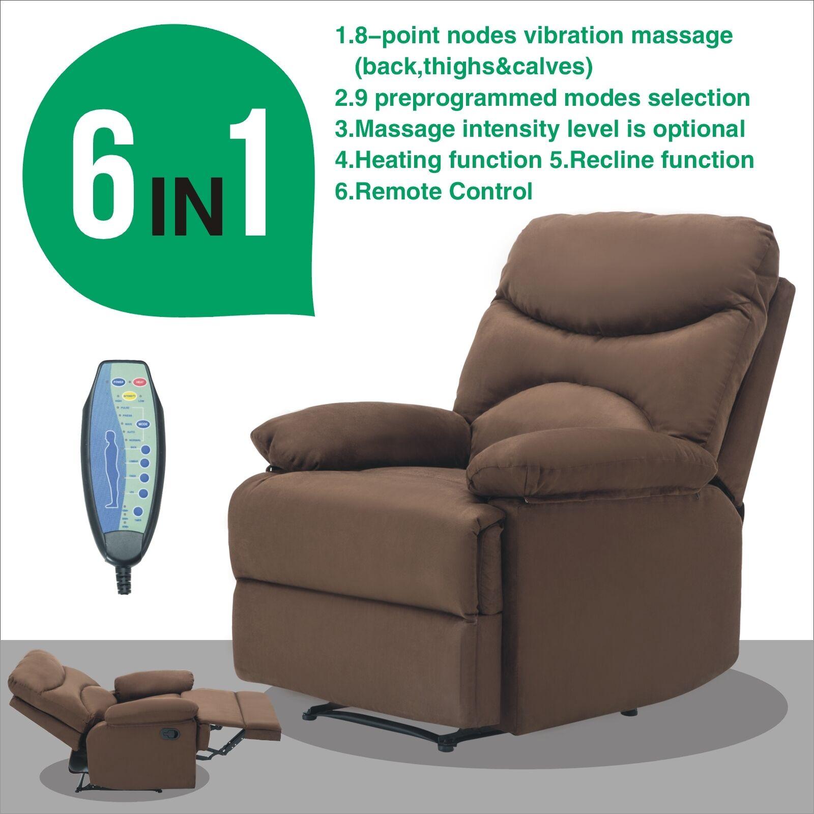 Ergonomic Lounge Swivel Heated Microfiber Massage Recliner Sofa Chair  W/Control