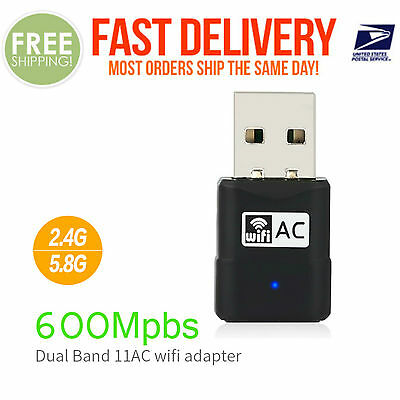 AC600 Dual Band 600Mbps Wireless USB WiFi Network Adapter LAN 5Ghz 802.11AC #003
