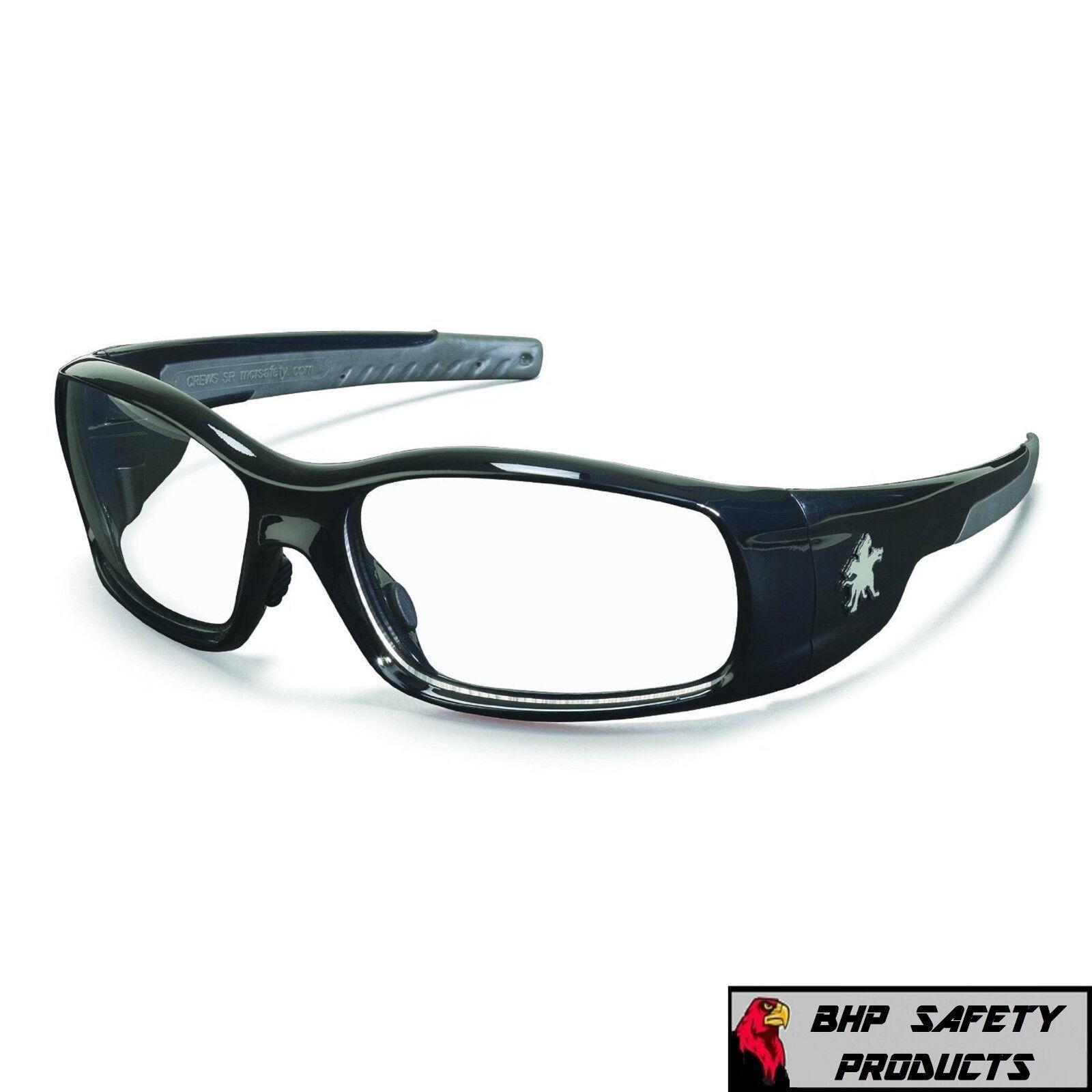 MCR CREWS SWAGGER SAFETY GLASSES SUNGLASSES WORK SPORT EYEWEAR CHOOSE YOUR COLOR SR110 CLEAR LENS/BLACK FRAME