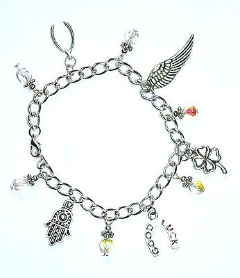 GOOD LUCK & BEST WISHES - charm bracelet with hamsa hand lucky clover &