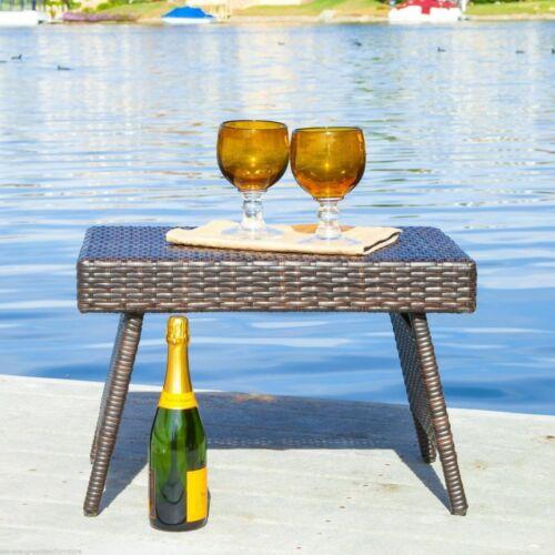 Lakeport Outdoor Brown Wicker Folding Side Table Home & Garden