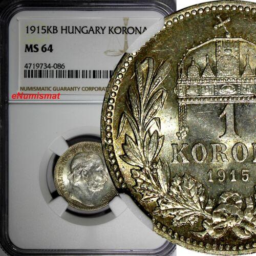 Hungary Franz Joseph I Silver 1915 KB 1 Korona NGC MS64 Light Toned Luster KM492