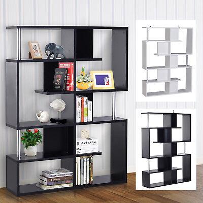 Wood Bookcase 5 Tier Shelves S Shape Bookshelf Free Standing Storage Display