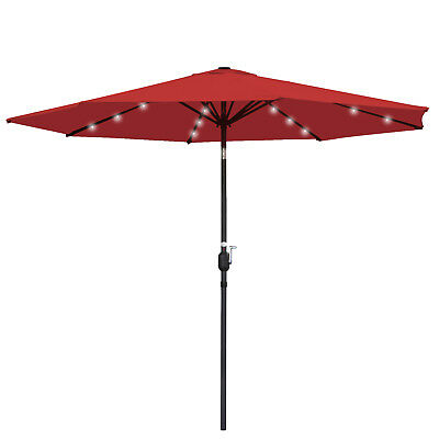 - 10ft Diameter Classic Single-top Design Outdoor 24 LED Solar Patio Umbrella