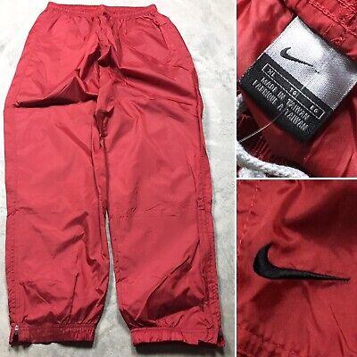 NIKE 90s VTG SWISHY WINDBREAKER Pants XL UnLined Red Black Logo OG Glanz Track