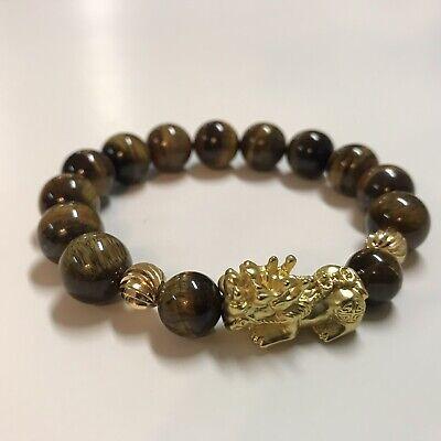 Yellow Tiger's Eye Gems Gold Pi Yao /Pi Xiu Feng Shui Bracelet For Money Luck