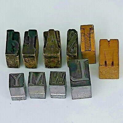 Vtg 10 Letter Press Printing Block Ink Stamps 6- Wooden 4-metal 12 - 1