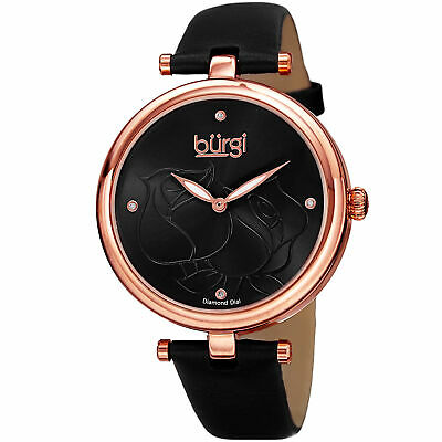 Women's Burgi BUR151BKR Flower Engraved Diamond Dial Genuine Leather Strap Watch