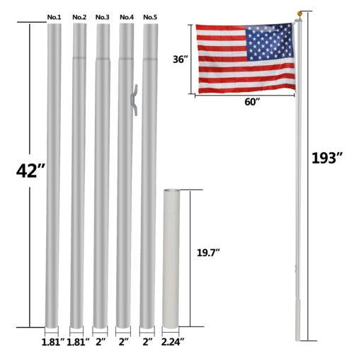 16FT Sectional Flag Pole Flagpole Halyard 3'x5′ US Flag and Ball Top Kit Outdoor Décor