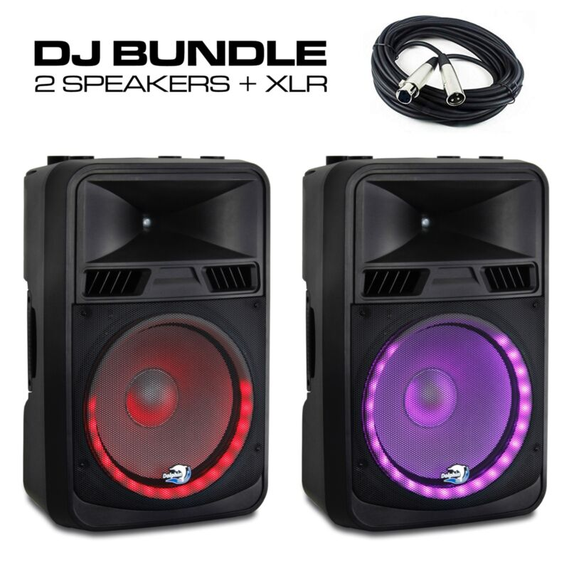 (2x) Dolphin SPX-180BT ELITE Series 15 Inch DJ Party Speakers with RAVE™ Lights