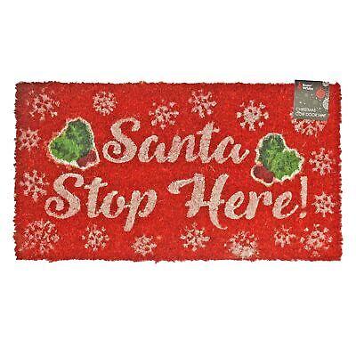 Christmas Outdoor Doormat - 100% Coir - 35x65cm - Santa Stop Here