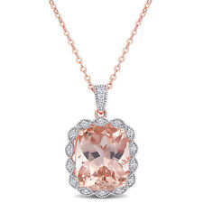 Amour Pink Silver CZ & Created Morganite Heart Necklace