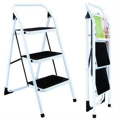 Folding 3 Step Ladder Nonslip Safety Portable Industrial Home Work Step Stool
