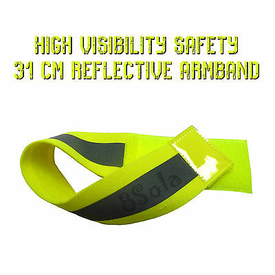 31cm Green Yellow High Visibility Safety Reflective Arm Band Cycling Running PPE