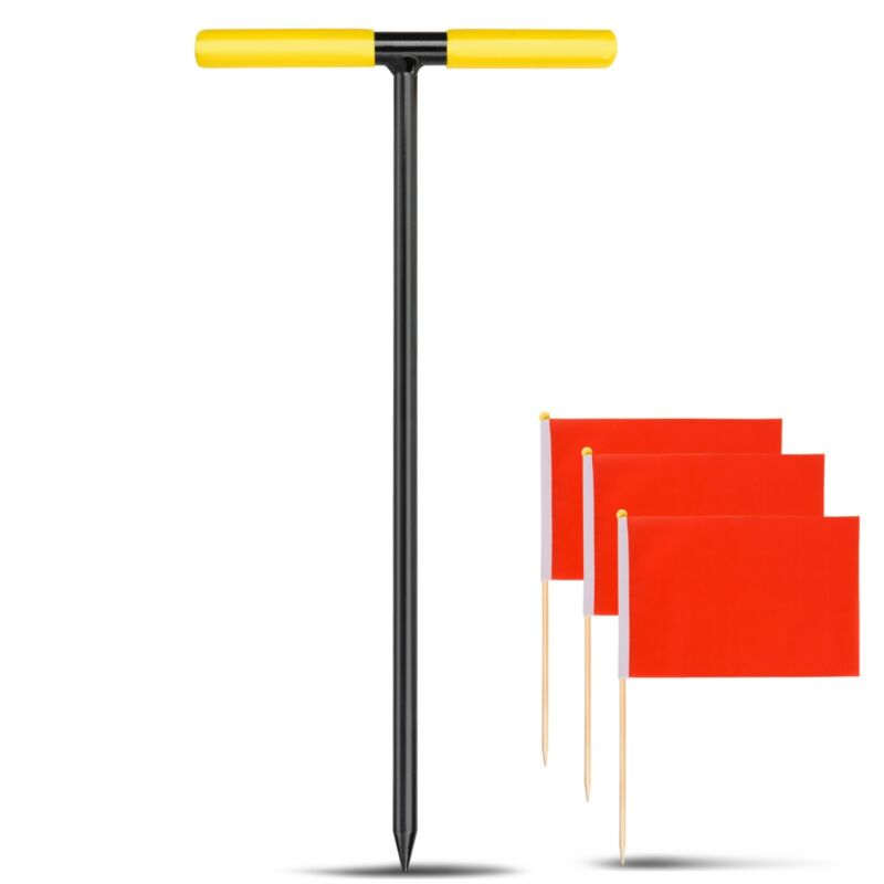 """Soil Probe 16"""" Steel Contractor Grade Ground Probing Rod, With Marking Flags"""