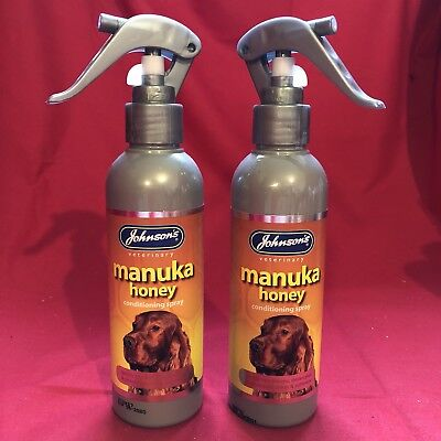 TWO x CONDITIONING SPRAYS Manuka Honey Spray Dog Puppy Shine Soft Detangles Coat