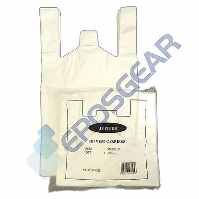 100 Strong Medium Plain White Vest Style Shopping Plastic Carrier Bags 10x15x18