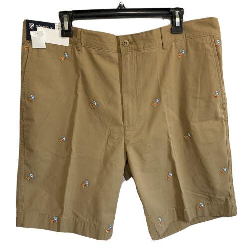 "Cremieux Mens Madison Khaki Chino Shorts 38 Flat Front 9"" Beach Hawaiian Clothing, Shoes & Accessories"