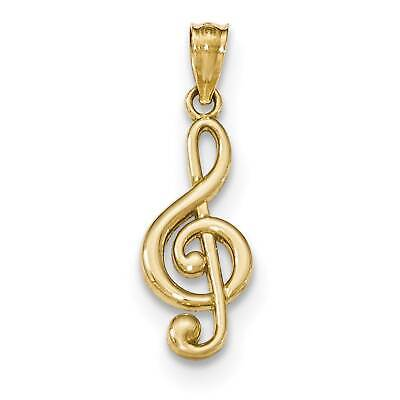 14k Yellow Gold Polished Music Note Charm Pendant Gold Music Note
