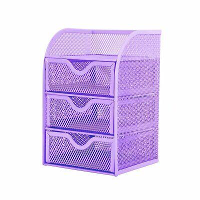 Pro Space Mesh Desk Organizer Office Supplies Storage Caddy With 3drawerspurple