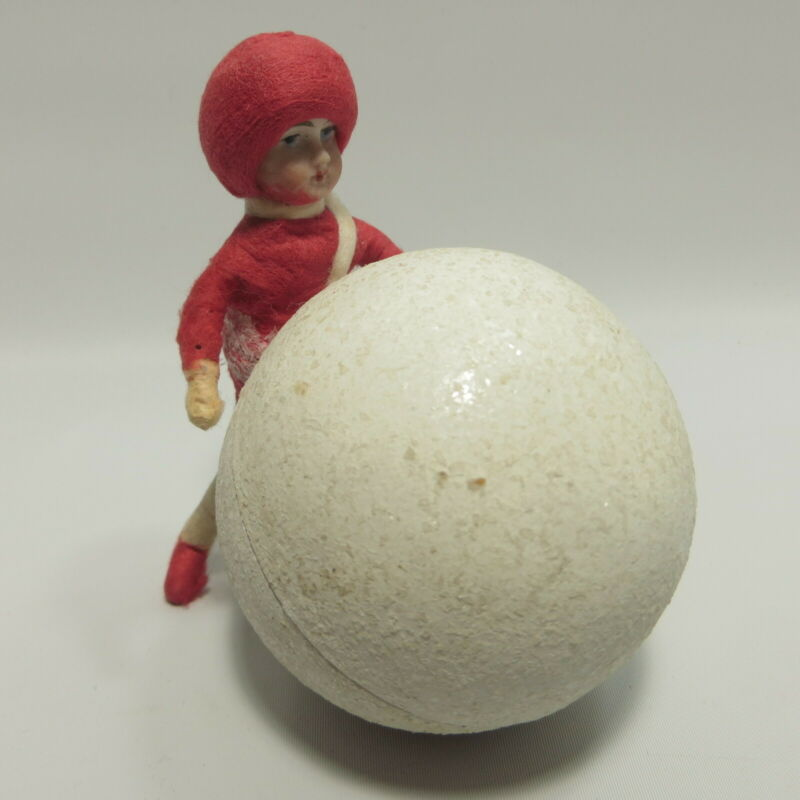 Antique Heubach Christmas Candy Container Boy & Snowball