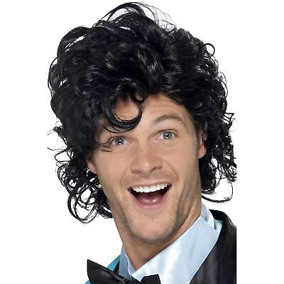 80s Retro Black Prom King Carrie Perm Wig Mens Adults Fancy Dress Accessory