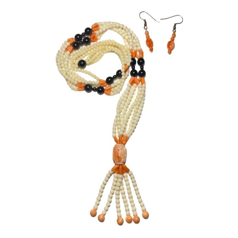 Vintage Natural Carved Angel Skin Coral Shou Barrel Bead Necklace & Earrings Set