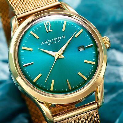 Women's Akribos XXIV AK930TQ Turquoise Dial Yellow Gold Mesh Style Date Watch