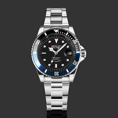 Military Royale Mens Watch Mechanical Black Face Stainless Steel Strap Date Army