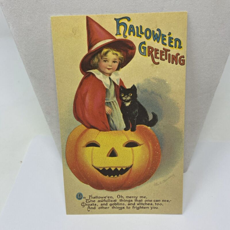 Vintage Postcard Halloween Little Witch In Red Reproduction